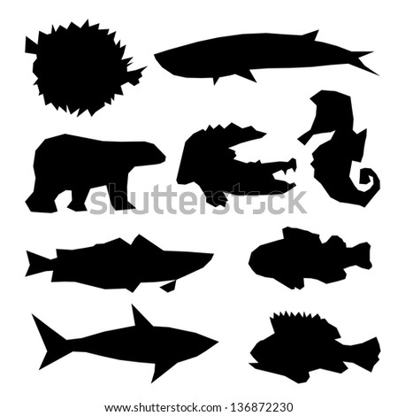 Set of marine life isolated on a white backgrounds