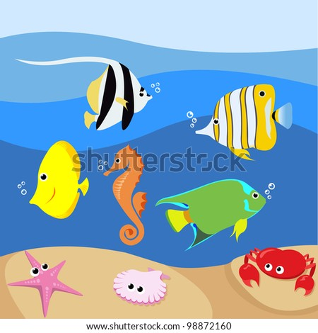 Set of marine life with various tropical fishes - stock vector