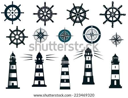 Set of marine or nautical themed icons in black and white with lighthouses, compasses and vintage ships wheels - stock vector