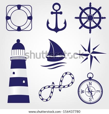 Set of marine symbols - stock vector