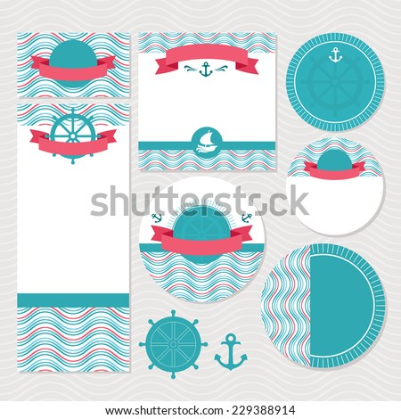 Set of marine wedding cards vector illustration without sample text - stock vector