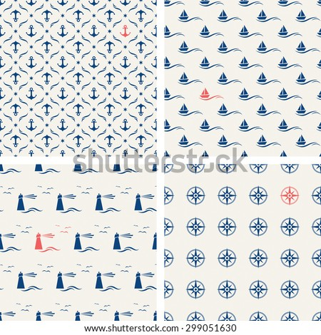 set of maritime seamless patterns - stock vector