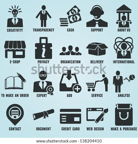 Set of marketing internet and service icons - part 1 - vector icons - stock vector
