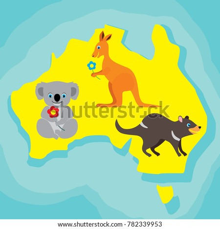 Cartoon Australian Map Stock Images RoyaltyFree Images Vectors - Map of australia for kids