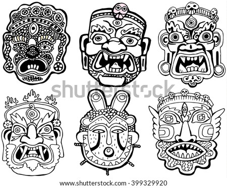 Set of Masks. Retro hand drawn.Coloring book pages.