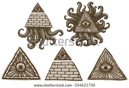Set of Mason symbols with pyramids,eyes and tentacles, vector - stock vector
