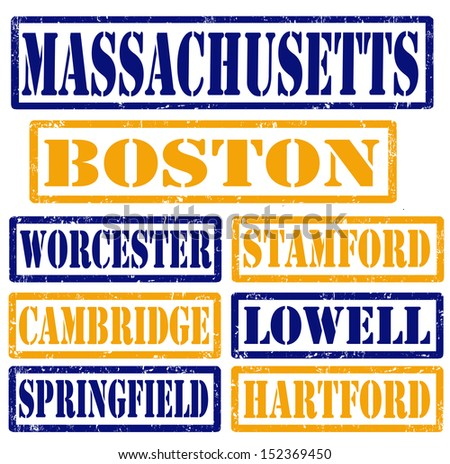 Set of Massachusetts cities stamps on white background, vector illustration - stock vector
