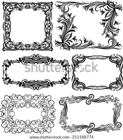 Set of 6 massive vector frames - stock vector