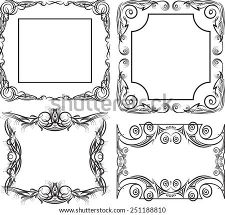 Set of 4 massive vector frames - stock vector