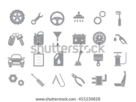 Set of 24 Mechanic gray vector icons