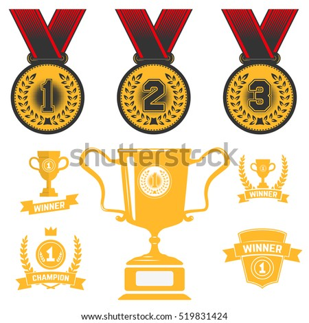 Set of medal icons, trophy, first place. Gold medal. Design element for logo, label, sign, brand mark. Vector illustration.