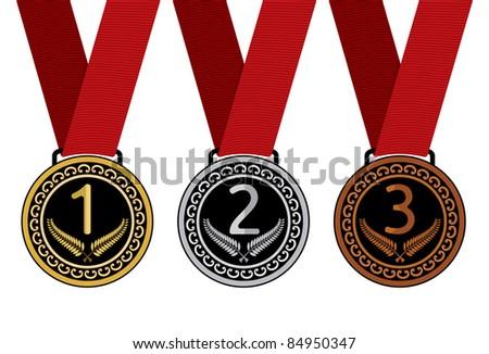Set of medal vector illustration - stock vector