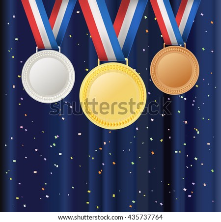 set of medals and ribbons over curtain background with confetti. vector illustration - stock vector