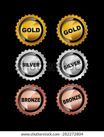 Set of Medals. Gold Medal. Silver Medal. Bronze Medal. - stock vector