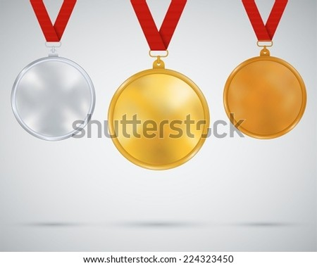 Set of medals, gold, silver, bronze