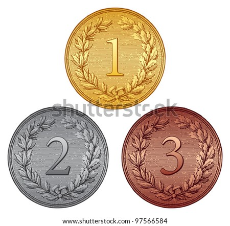 Set of medals (vintage style) - stock vector