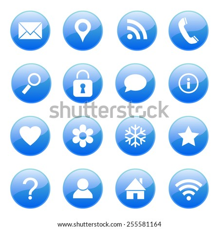Set of media and communication vector icons - stock vector