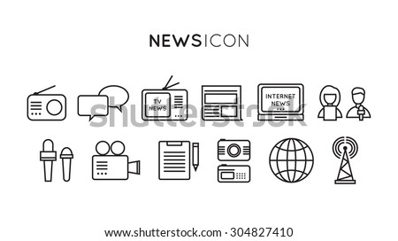 Set of media news, tv, global technology icons in flat design - stock vector