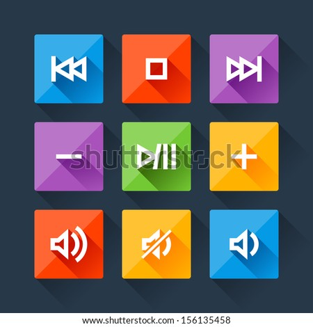 Set of media player buttons in flat design style. - stock vector