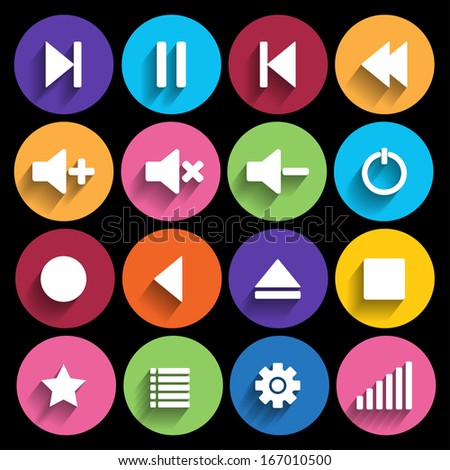 Set of media player buttons in flat design style - stock vector