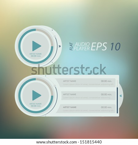 Set of media players for website or application. Creative Flat design . - stock vector
