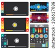Set of media players for website or application. Creative Flat design with buttons and icons. - stock vector