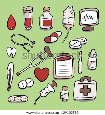 Set of medical equipments and many drug dosage forms, vector image