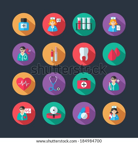 Set of medical healthcare icons and doctor hospital avatars with nurse heart isolated vector illustration - stock vector