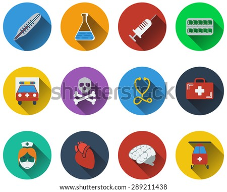Set of medical icon in flat design. EPS 10 vector illustration with transparency. - stock vector