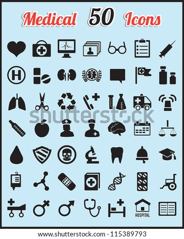 Set of 50 medical icons for design - vector icons
