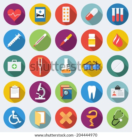 Set of medical icons in flat design with long shadows - stock vector