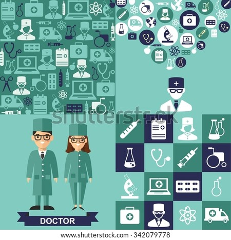 Set of medical icons, medical people in flat style Vector illustration of a doctor, medical icons, background - stock vector