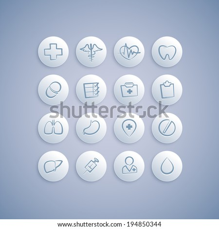 Set of Medical Icons on Pills.  - stock vector