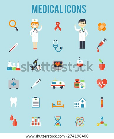 Set of medical icons. Stethoscope and blood, ambulance and clinic, microscope and syringe. Vector illusrtation - stock vector