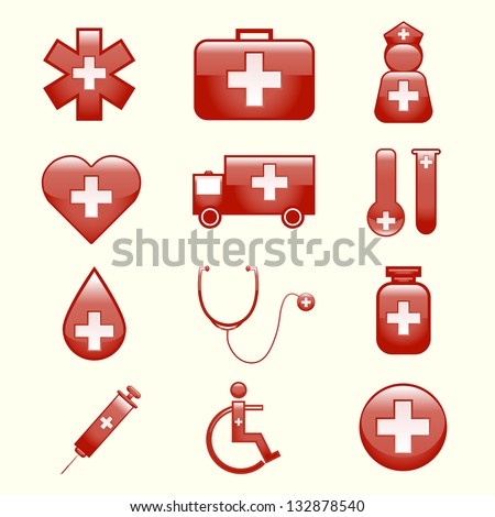 set of medical icons -Vector illustration - stock vector