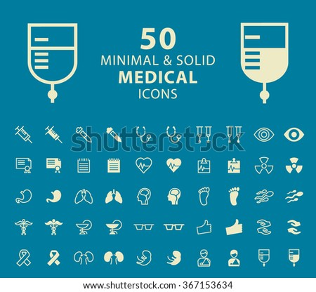 Set of 50 Medical Minimal and Solid Icons. Vector Isolated Elements.  - stock vector