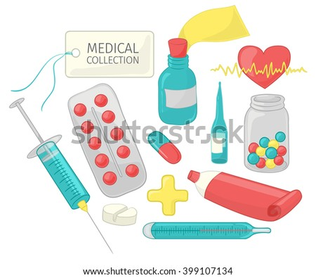 Set of medical paraphernalia in a cartoon style. Vector illustration isolated on white background