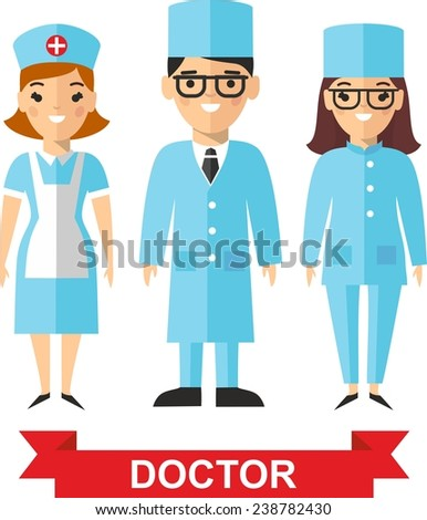 Set of medical people, doctor and nurse. Vector illustration of a medical team, doctor and nurse  - stock vector