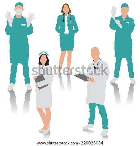 Set of medical people. Doctor, surgeons and nurse. Vector illustration - stock vector