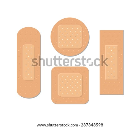 Set of medical plasters - stock vector