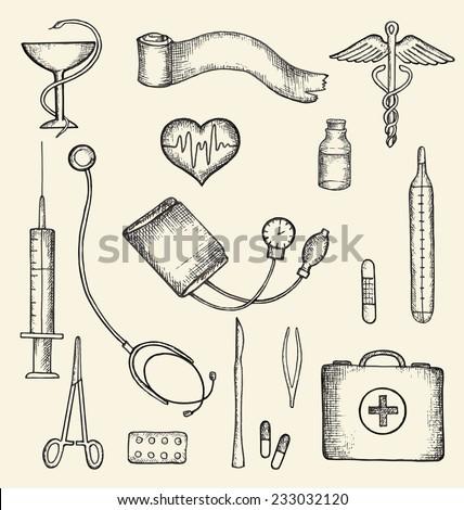 Set of medical supplies, hand-drawn, vector illustration. - stock vector
