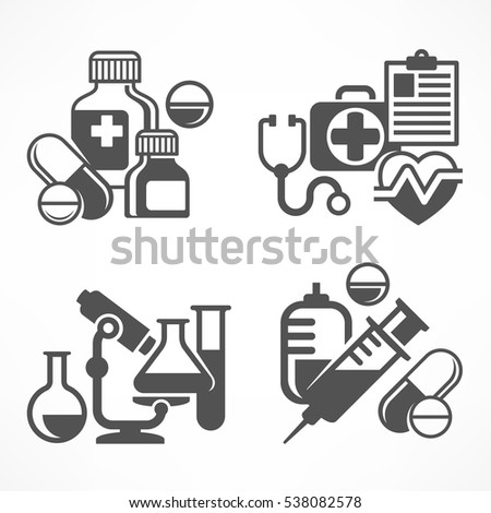 Set of medical symbols on white. Medicine icons in grey. Vector illustration