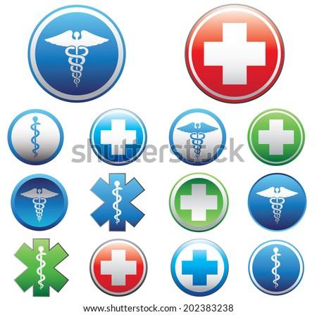 Set of medical symbols. Vector illustration. - stock vector