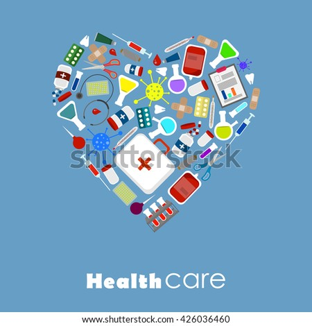 Set of medical tools and health care equipment in a heart shape on blue background.