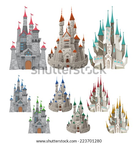 Set of medieval castles in different colors. Cartoon and vector isolated objects. - stock vector
