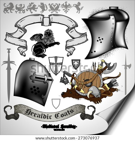 set of medieval heraldic elements with shields and weapons