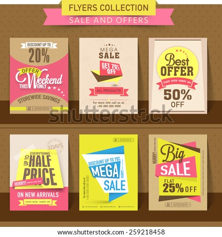 Set of Mega Sale flyer, poster or banner design with best discount offers. - stock vector