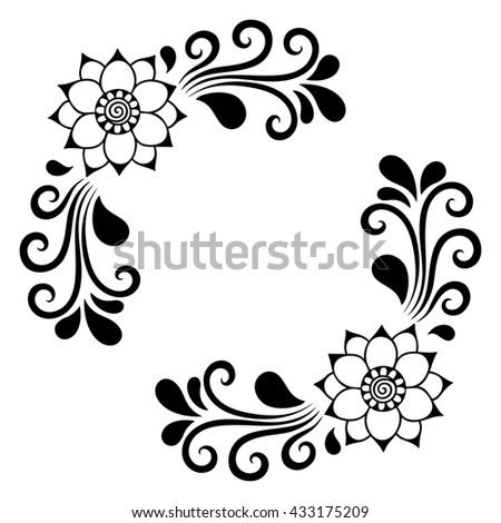 set mehndi flower pattern henna drawing stock vector 433175209 rh shutterstock com vector flower pattern free vector flower pattern free
