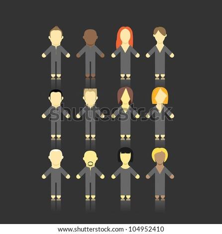 Set of men and women abstract figures. - stock vector