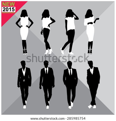 Set of men and women black silhouettes - stock vector